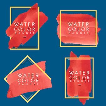 Set of red watercolor banner design vector
