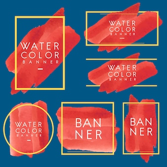 Set of red watercolor banner design vector