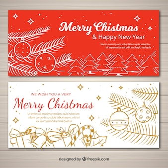 Set of a red and white christmas banners