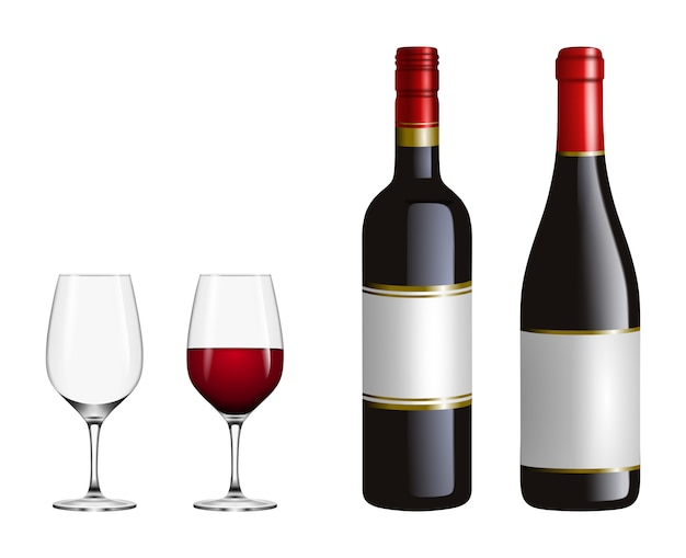 Set of red wine glasses and bottles