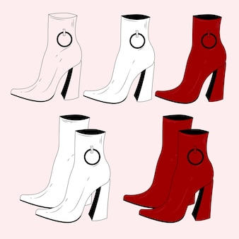 Set of red women's boots with heels