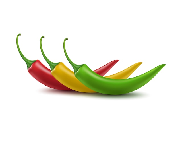 Set of red yellow green hot chili pepper