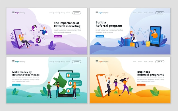 Set of referral marketing and affiliate marketing strategy landing page template