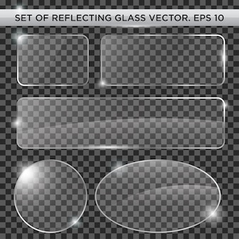 Set of reflecting glass vector template