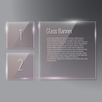 Set of reflecting square glass banners on gradient background