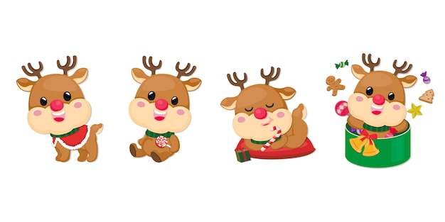 Set of reindeer characters
