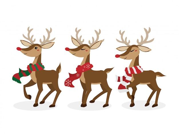 Set of reindeer for christmas holiday season.