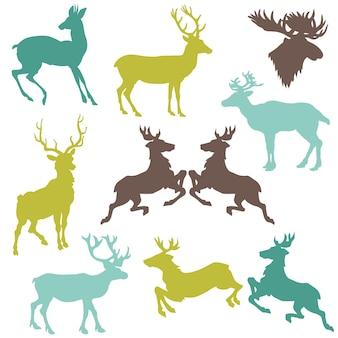 Set of reindeer silhouettes