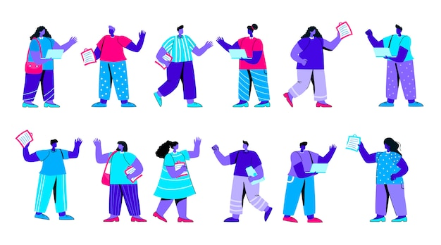Set of rejoicing business flat blue people character