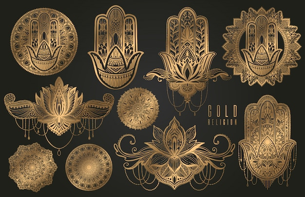 Set religion buddhism boho sign gold.hamsa,mandala,lotus.