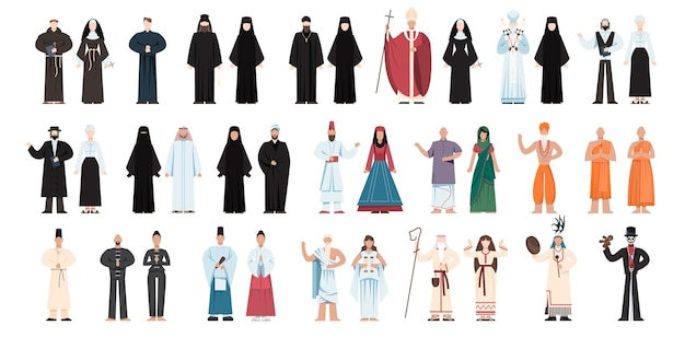 Set of religion people wearing specific uniform. male and female religious figure collection. buddhist monk, christian priests, rabbi judaist, muslim mullah.   illustration