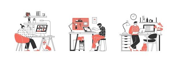 Установить удаленная работа или дистанционное обучение работа на дому персонаж-фрилансер, работающий из дома, удобное рабочее место, плоская иллюстрация мужчина и женщина, самозанятые концепции