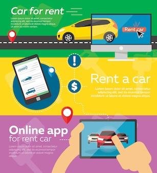 Set of rent a car banner template