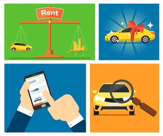 Set of rent a car cards
