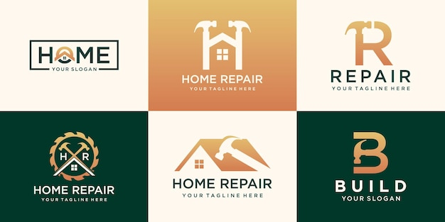 Set of repair house logo, creative home logo collection combined hammer element, abstract buildings. Premium Vector