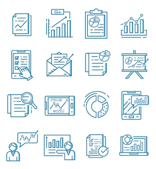 Set of report icons with outline style