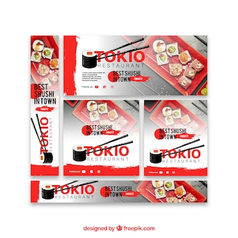 Set of restaurant banners with photo