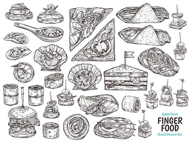 Set of restaurant, cafe finger food