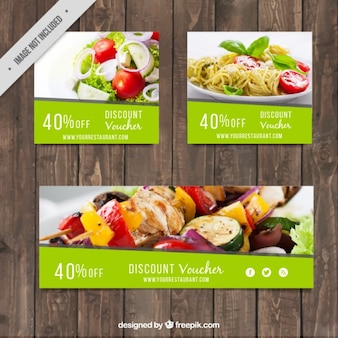 Set of restaurant discount banners
