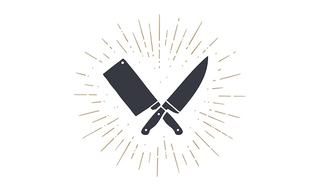 Set of restaurant knives icons. silhouette two butcher knives