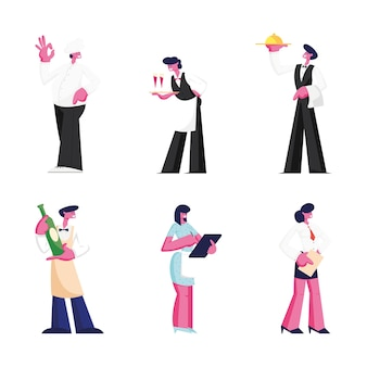 Set of restaurant staff isolated on white background. cartoon flat illustration