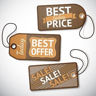 Set di tag di vendita di cartone al dettaglio