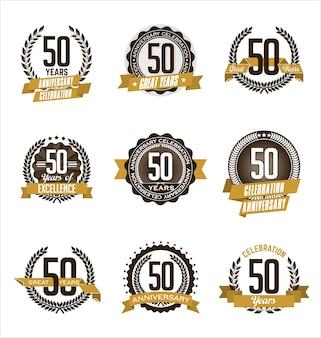 Set of retro 50th anniversary badge gold flat