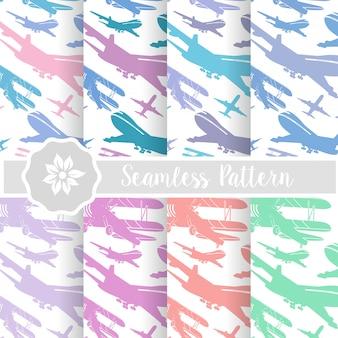 Set of retro airplane sky