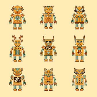 Set of retro animal robot character