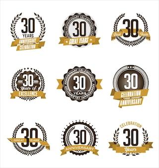 Set of retro anniversary badges
