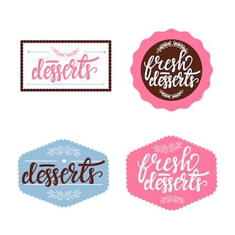 Set of retro badges with lettering for cafe. vector illustration.