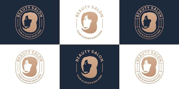 Set retro beauty woman salon and spa logo design collection