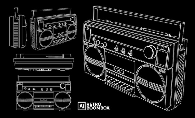 Set of retro boombox views. marker effect drawings. editable color.