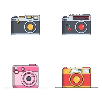 Set of retro camera illustration in flat design
