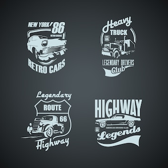 Set of retro cars and trucs vintage logotypes