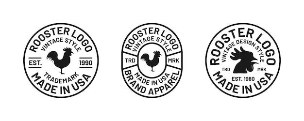 Set of retro classic typography badge head chiken apparel branding collection