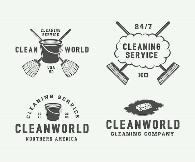 Set of retro cleaning logo badges