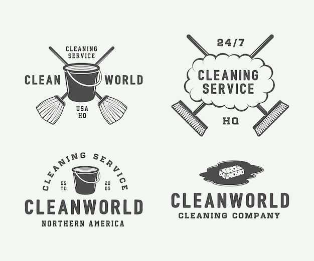 Set of retro cleaning logo badges