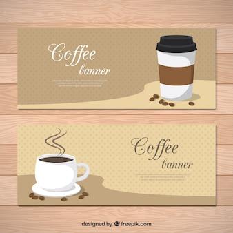 Set of retro coffee banners