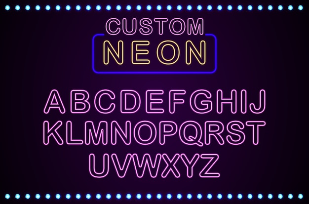 Set of retro custom neon sign background