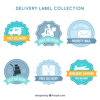 Set of retro delivery stickers