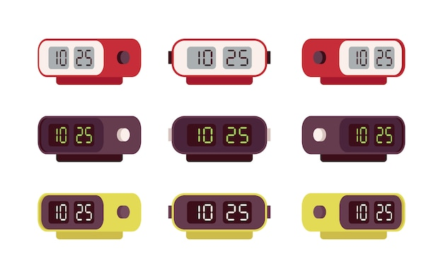 Set of retro digital alarm clocks