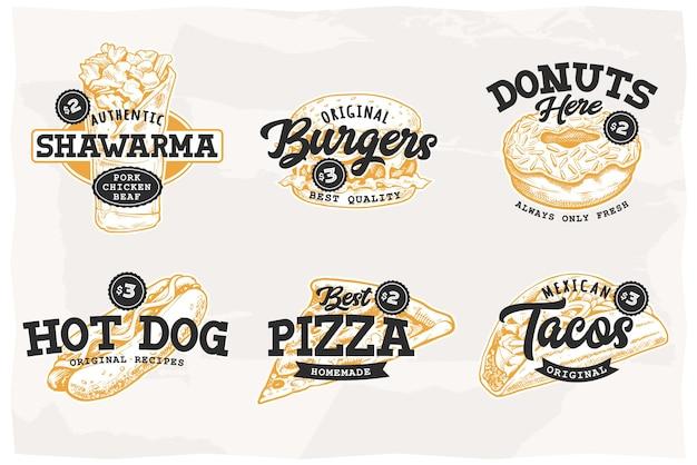 Set of retro emblems with most popular street food shawarma burger donut hot dog pizza tacos