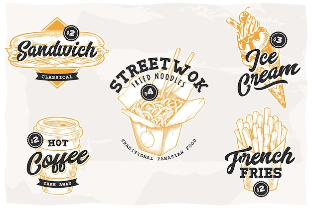 Set of retro emblems with most popular street food