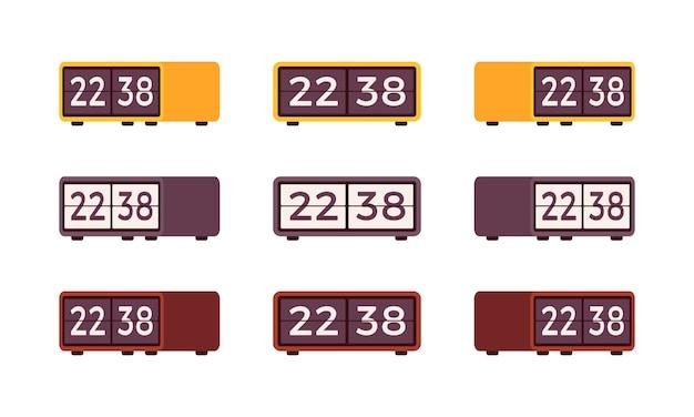 Set of retro flip alarm clocks