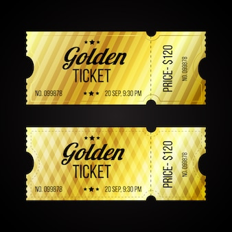 Set of retro golden and cardboard tickets template