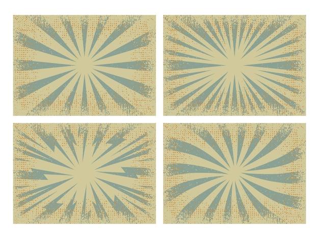 Set of retro grunge sunburst background, vector illustration