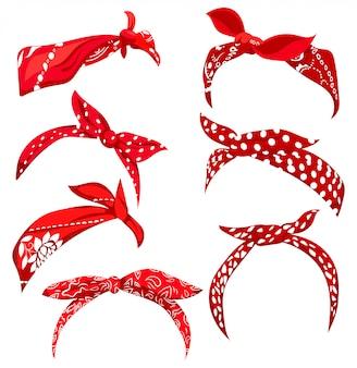 女性のためのレトロなヘッドバンドを設定します。ヘアスタイルの赤いバンダナのコレクション。