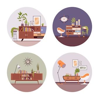 Set of retro interiors in circle