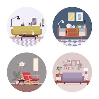 Set of retro interiors in a circle